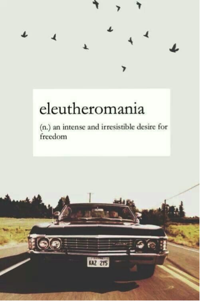 eleutheromania: an intense and and irresistible desire for freedom